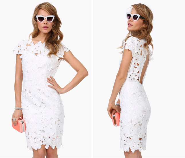 Floral Crochet Bodycon Bridal Dress