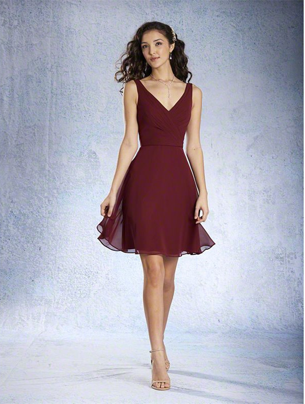 Short Burgundy Bridesmaid Dress