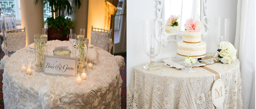 Tips and tricks to decorate your wedding tables everafterguide wedding table covers and linens solutioingenieria Gallery