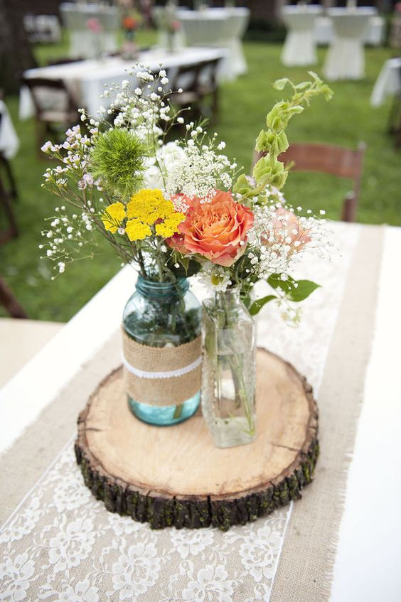28 round table centerpieces in different styles everafterguide mason jar centerpiece with burlap and lace junglespirit Images