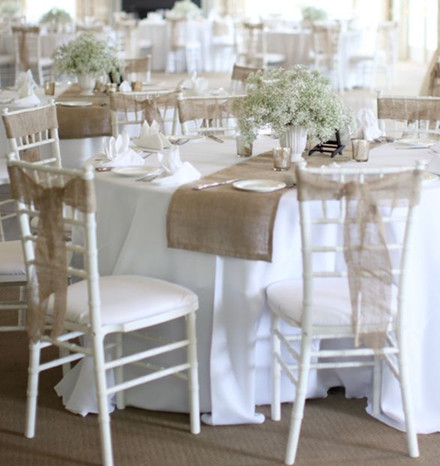 20 inspring and affordable wedding chair decorations everafterguide add a rustic vibe to your wedding chairs by using fabrics like hessian and burlap these fabrics can be used in various styles like simply tied knots or junglespirit Choice Image