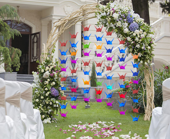 Unique alternative ideas for decorating the altar for a wedding paper cranes wedding arch junglespirit Choice Image