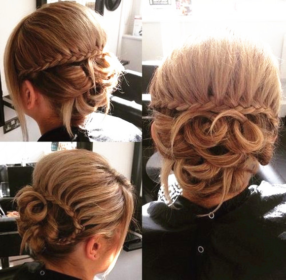 Waterfall Braid On Looped Updo