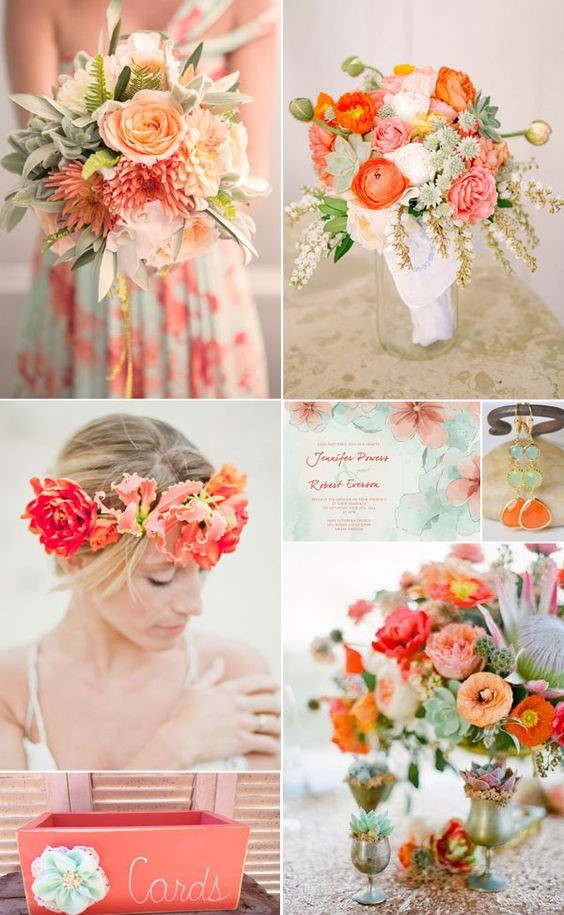 16 most refreshing and trendy spring wedding colors everafterguide coral and mint with peach accent junglespirit Choice Image
