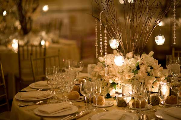 Round table centerpieces in different styles