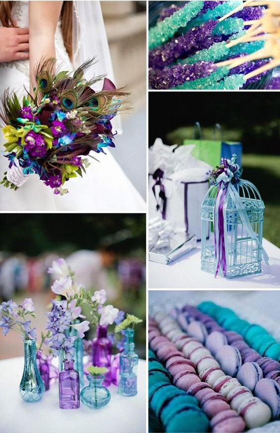 16 most refreshing and trendy spring wedding colors everafterguide violet and teal blue its an exotic color combination for spring weddings junglespirit