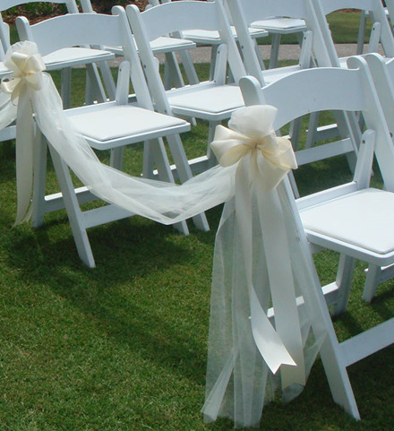 20 inspring and affordable wedding chair decorations everafterguide ribbon chair decorations junglespirit Choice Image