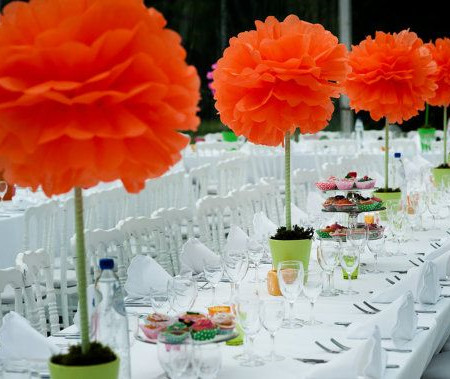 Affordable and adorable17 wedding centerpieces ideas everafterguide pompoms wedding centerpiece mightylinksfo