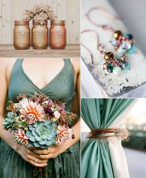 12 perfect combinations for color schemes for fall weddings copper brown and sage green junglespirit