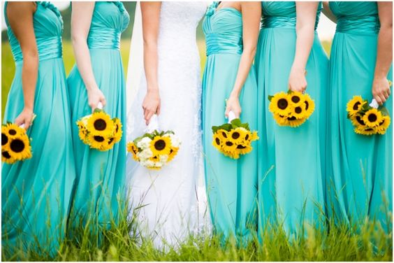 For Bridesmaids Dresses You Can Go Both C Or Aqua If Want To Give Gowns A More Non Traditional And Sun Kissed Look
