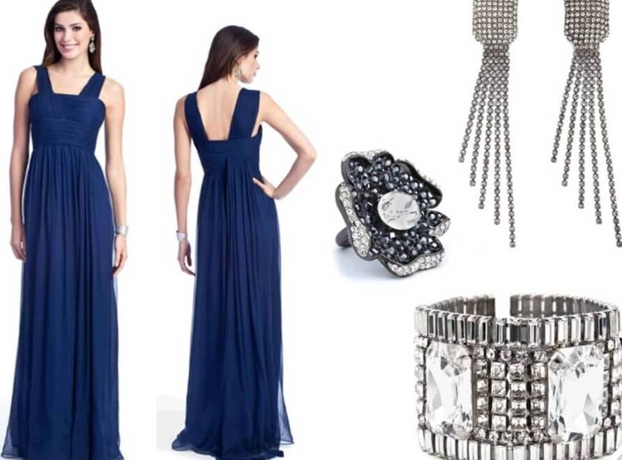 6c85a4dcd65 Which Color Jewelry Goes with Dark Blue Dresses  - EverAfterGuide