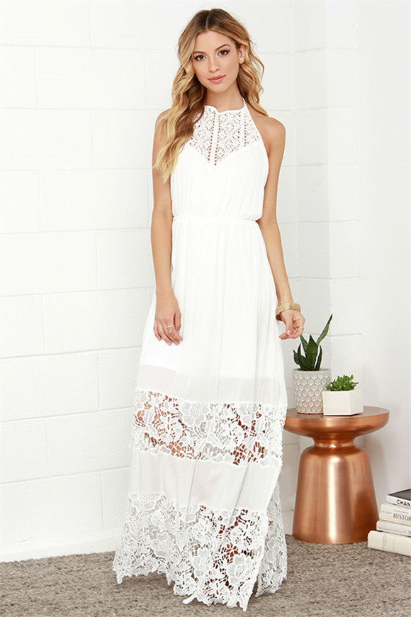 Dashing Dame Ivory Lace Halter Maxi Dress