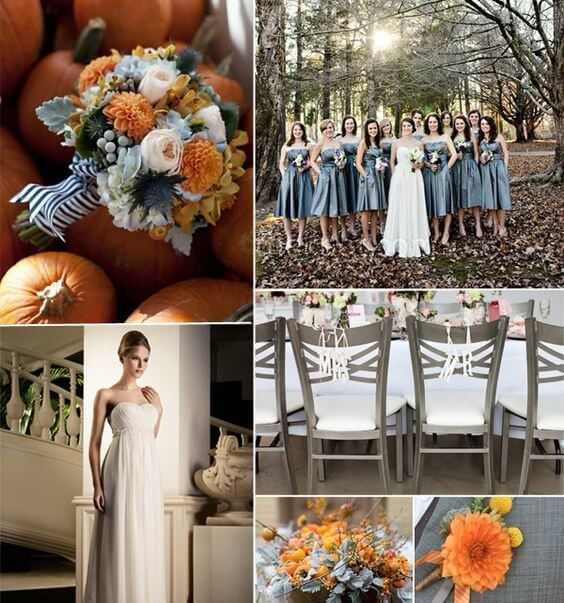 12 perfect combinations for color schemes for fall weddings dusty blue with burnt orange junglespirit Choice Image