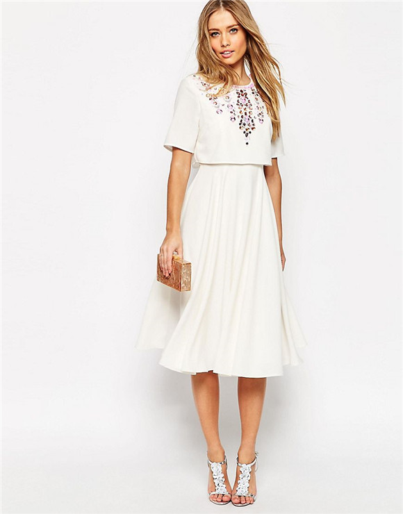 embellished crop top midi skater dress with short sleeves