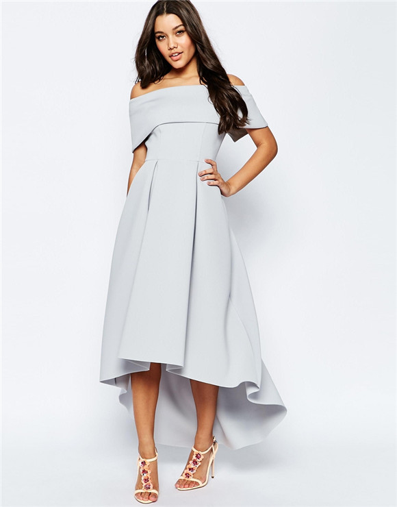 off the shoulder dip back maxi dress