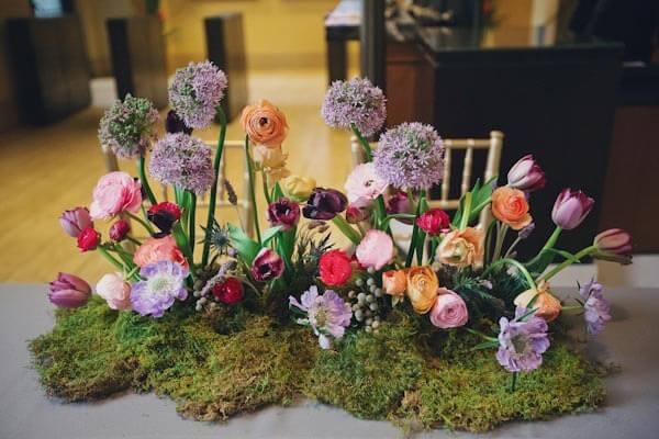 Moss Table Centerpieces