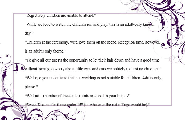 Wedding invitation wording no children how to and samples note make optional calls stopboris Images