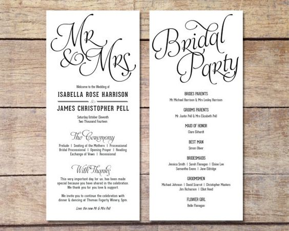 Party And Your Traditional Ceremony You Can Add In Some Fun Details As Well Give Guest Something To Do With Their Programs Like A Crossword