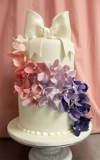 Take On A Cake Topper And The Cascade Of Ombre Flower Petals Jazzes Up White Fondant Another One Elegant Ivory Pink Purple Wedding