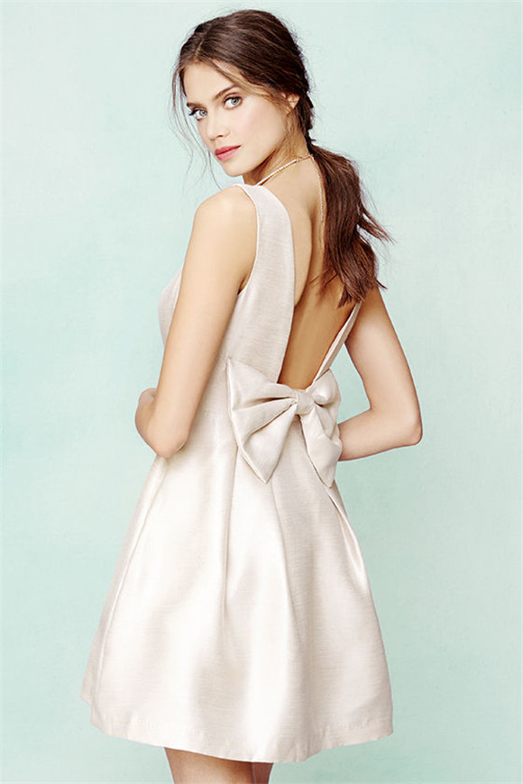 bow me a kiss beige backless dress