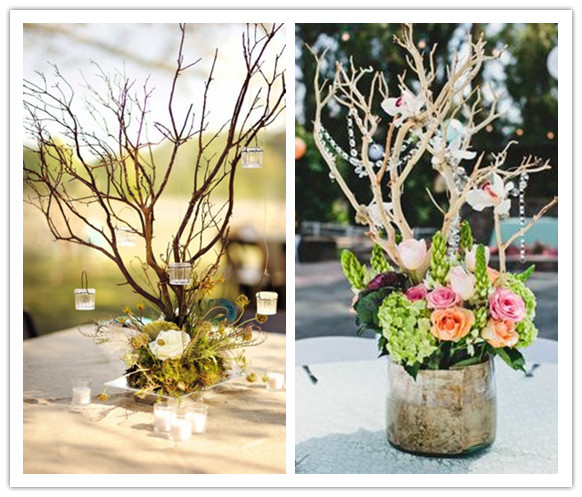 24 best ideas for rustic wedding centerpieces with lots of picture branching centerpieces skillfully wrapped tall branches accented with fresh flowers junglespirit Images