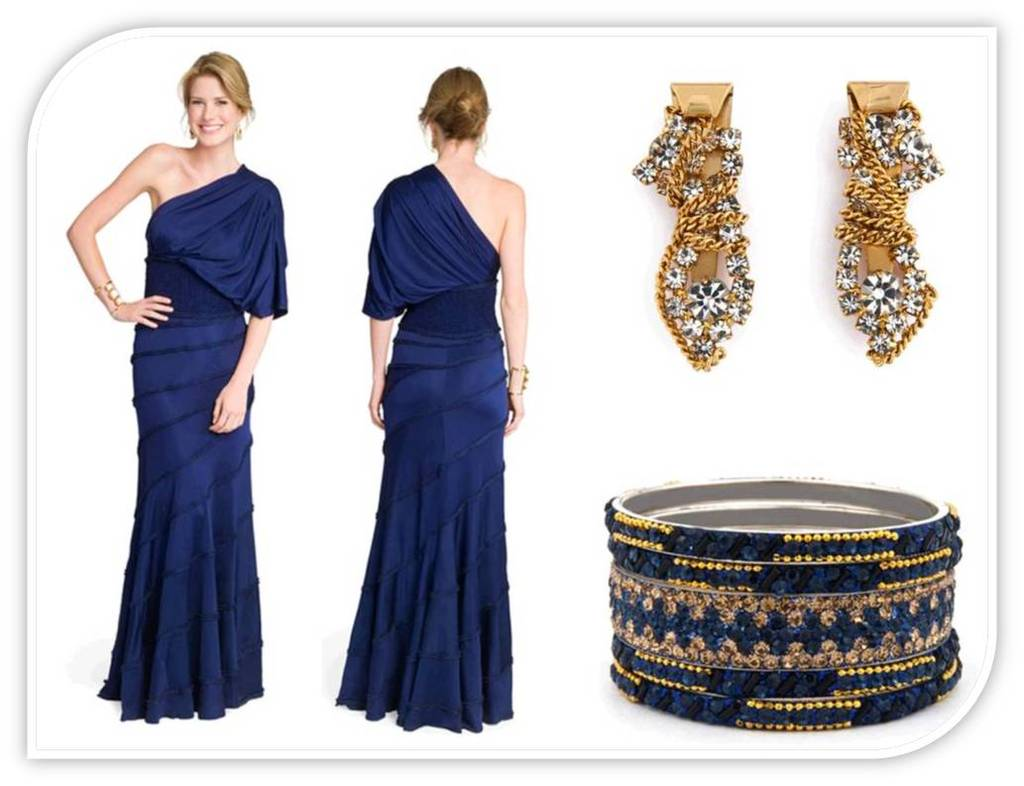 Which color jewelry goes with dark blue dresses What color goes good with blue
