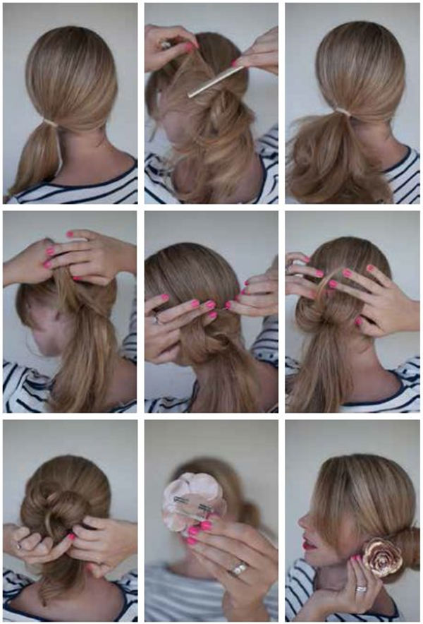 simple hair style step by step bun hairstyles for your wedding day with detailed steps 9144