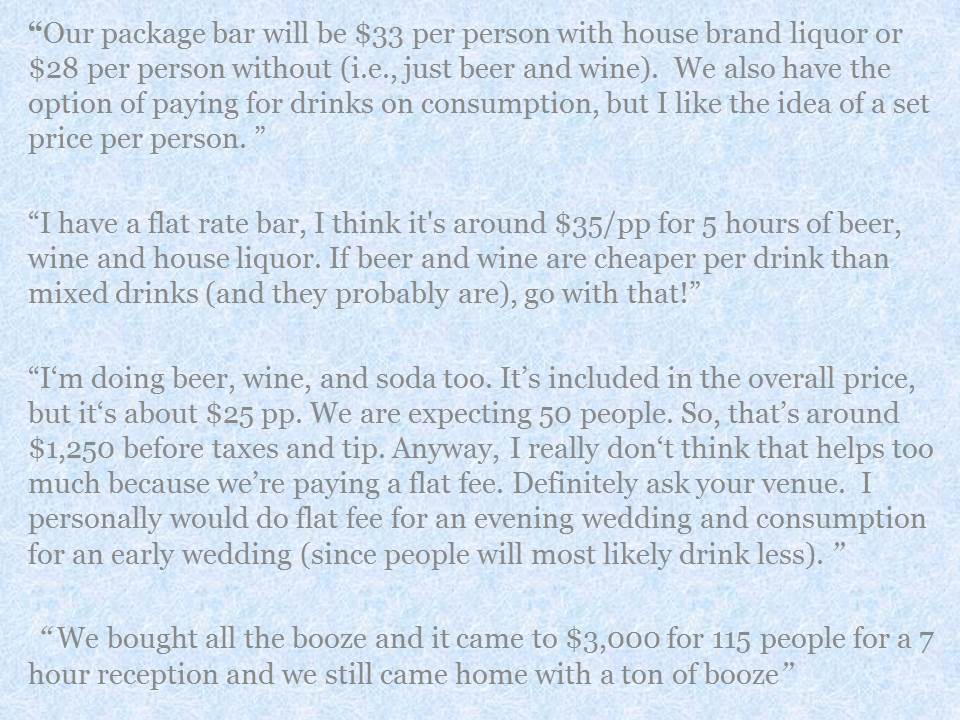 How Much Does An Open Bar Cost What Others Say