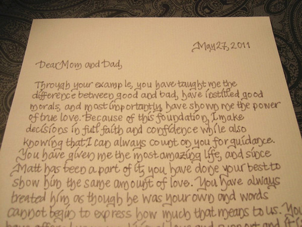 A message from the bride and groom to their parents for Letter to mother of the bride