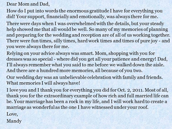 A message from the bride and groom to their parents everafterguide more examples of special thanks from bride and groom to parents longer letters thecheapjerseys