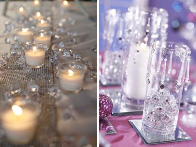 line long tables with a burlap runner and place the candles in a zigzag pattern for rustic themed showers scatter crystal like gems around them to add in