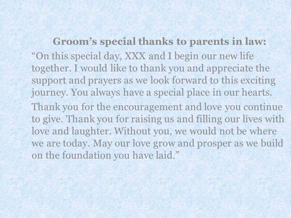 more examples of special thanks from bride and groom to parents longer letters