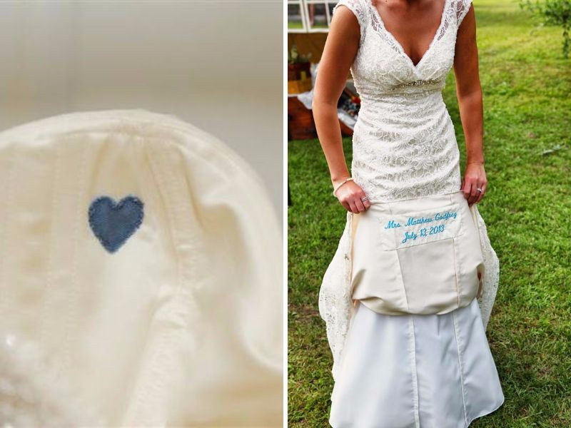 You Could Always Add A Personalized Message Underneath Your Wedding Dress Don T Worry The Blue Sching Will Not Be On Show So It S Private Memo