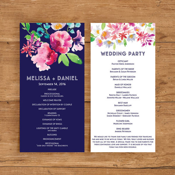 Papers And Ink Top Wedding Program Templates EverAfterGuide - Floral wedding program templates