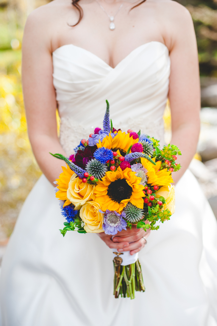 Warmth and happiness 20 perfect sunflower wedding bouquet ideas bright wildflower bouquet junglespirit Images