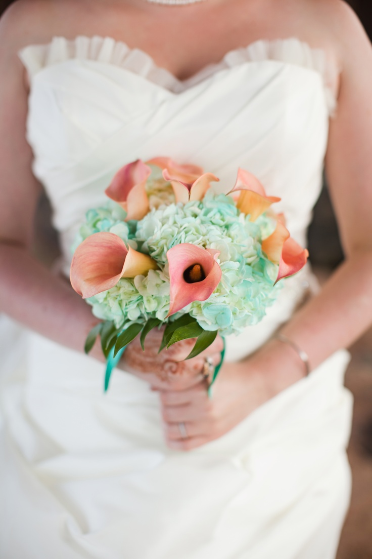 From pastels to vibrant hues 15 most beautiful calla lily wedding aqua hydrangeas and coral calla lilies izmirmasajfo