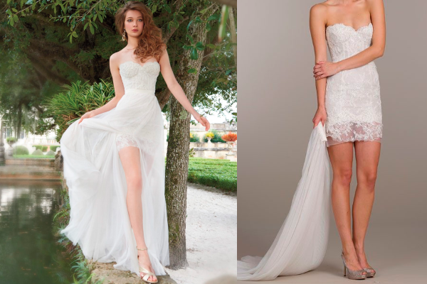 It Is One Mini Strapless Lace Detachable Wedding Dress With A Sweetheart Neckline And Belt Overskirt