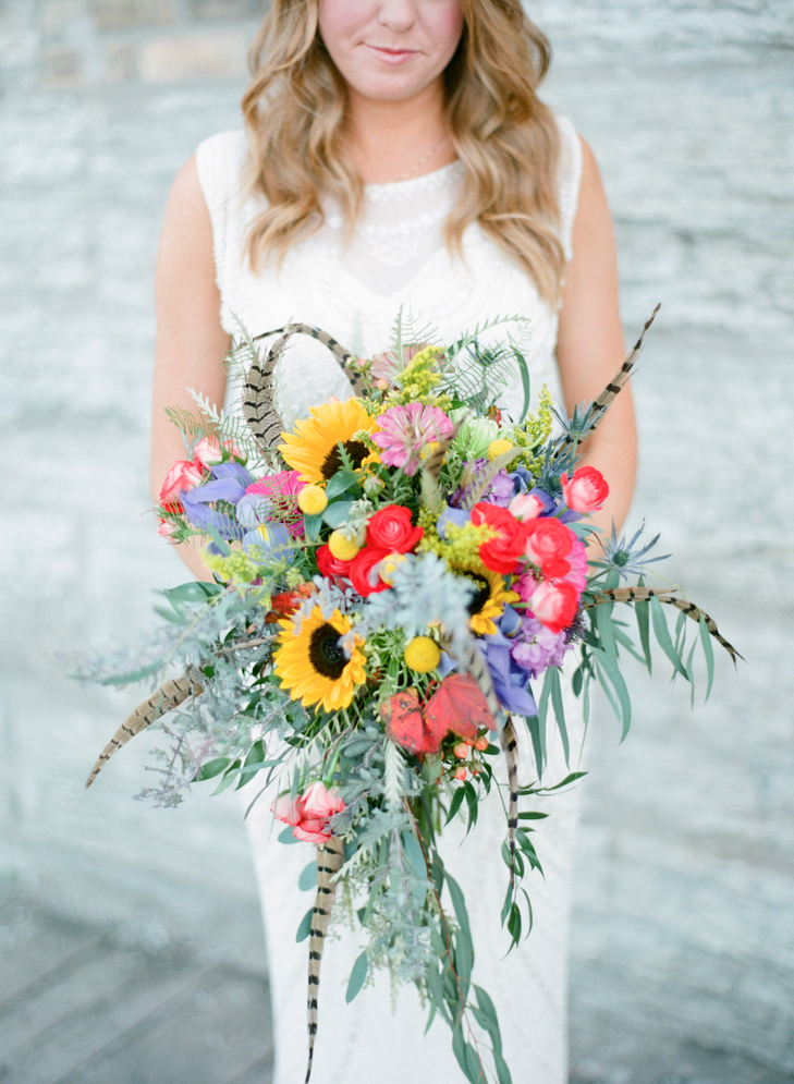 Warmth and happiness 20 perfect sunflower wedding bouquet ideas colorful feather bouquet junglespirit Choice Image