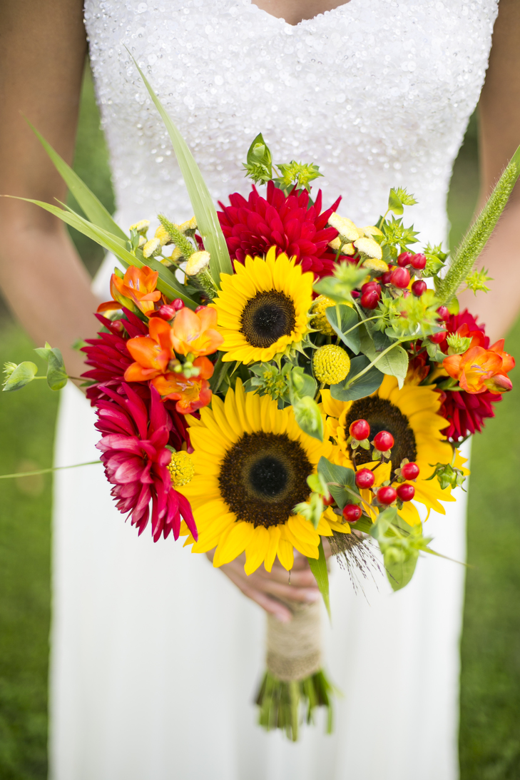 Warmth and happiness 20 perfect sunflower wedding bouquet ideas summery gerbera bouquet junglespirit Gallery