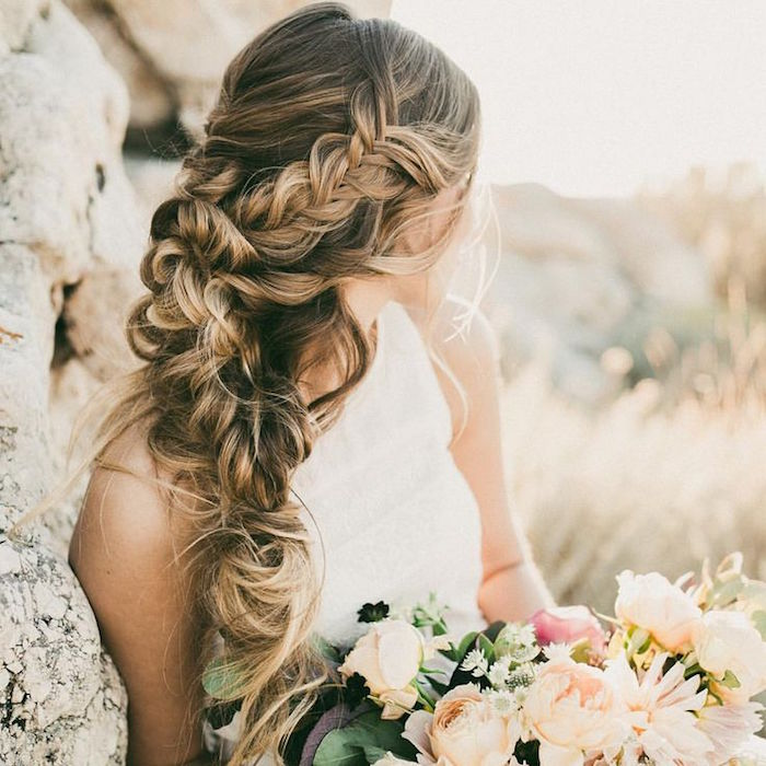 Best beach wedding hairstyles tips and ideas everafterguide side swept textured braid junglespirit Images