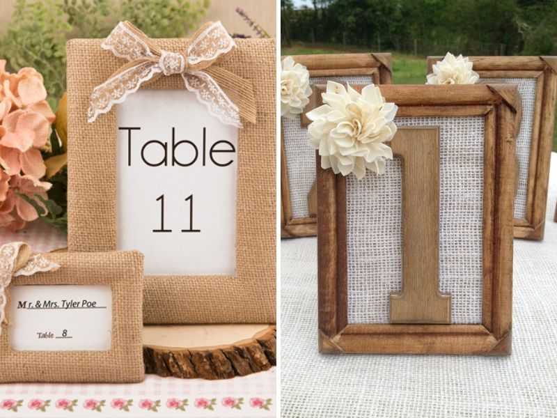 Burlap Picture Frames Table Numbers