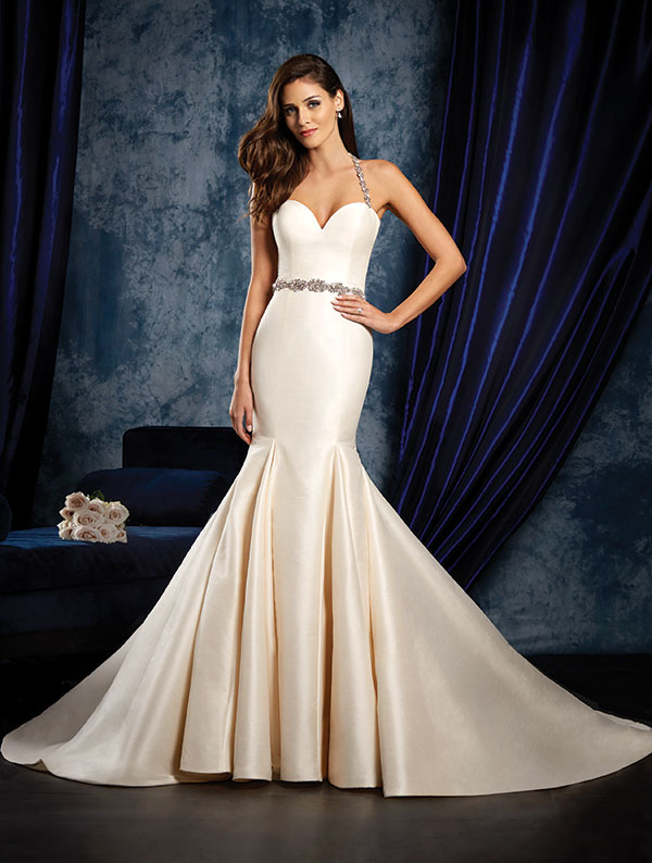 Dupioni Sophisticated Wedding Dress With Et Skirt