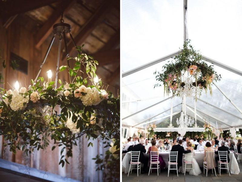 Stunning ideas for wedding ceiling decorations everafterguide wrapped hula hoop junglespirit