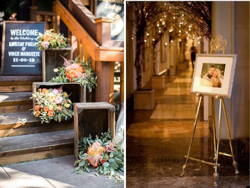 24 stunning ideas for hall decorations for weddings everafterguide entrance sign junglespirit Gallery
