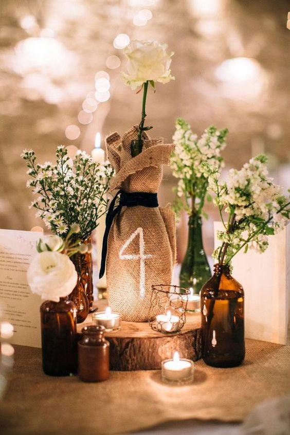 35 most appealing wedding table number ideas everafterguide burlap centerpiece table number junglespirit Images