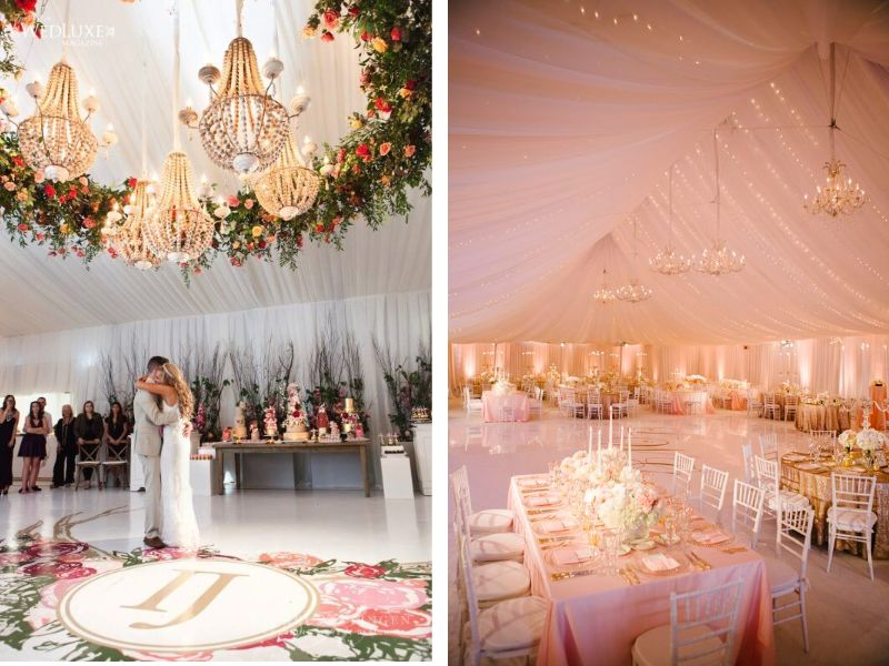 Stunning ideas for wedding ceiling decorations everafterguide for luxurious weddings hanging chandeliers with accents like drapes flowers or greenery can be tried junglespirit Image collections