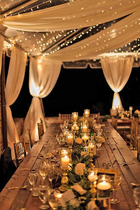 Try Adding Drapes And Lights On Your Ceiling Instead! Homey And Elegantly  Rustic, This Wedding Design Idea Can Make Your Memories Even More  Treasurable.