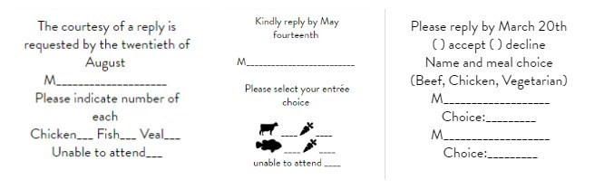 response cards sample