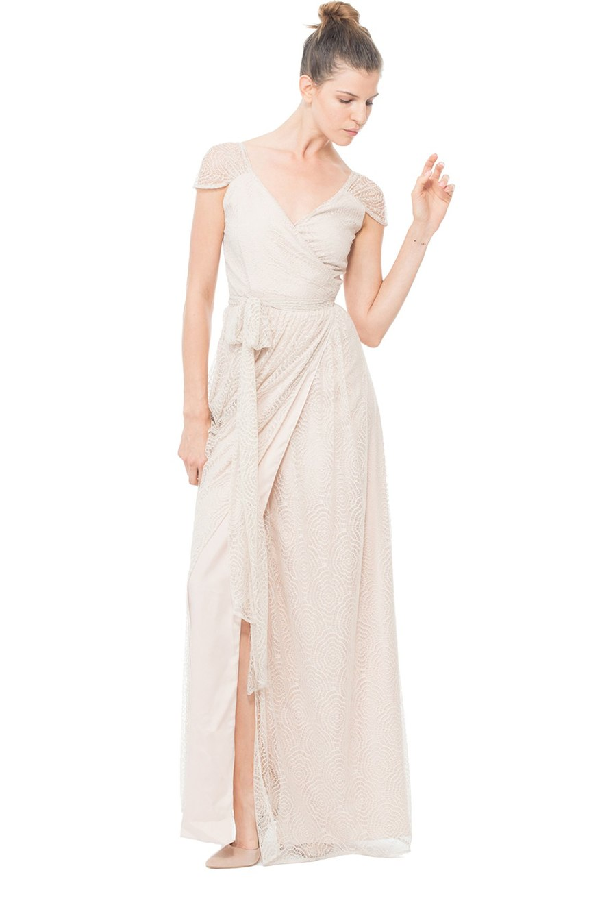 Newbury Gathered Sleeve Lace Wrap Gown