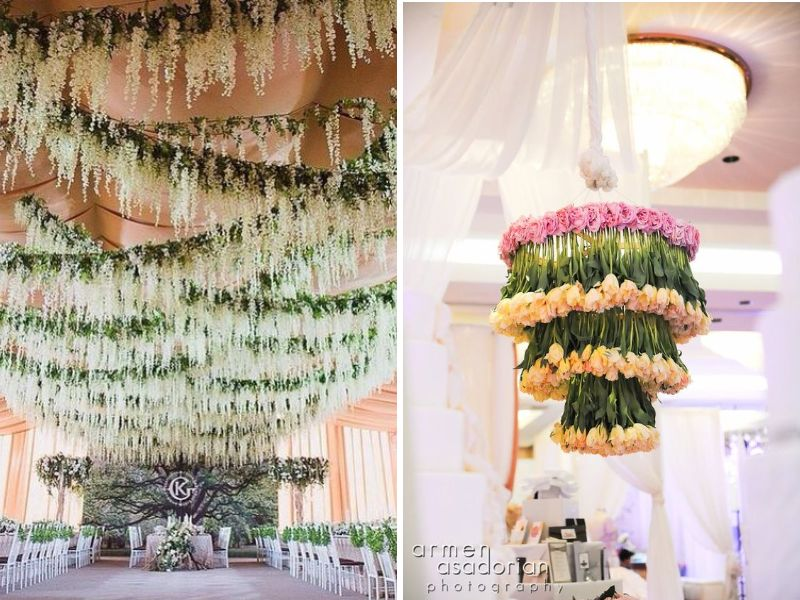 Stunning ideas for wedding ceiling decorations everafterguide floral ceiling junglespirit Image collections